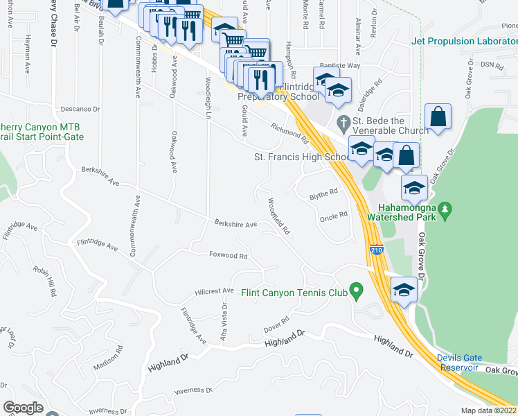 map of restaurants, bars, coffee shops, grocery stores, and more near 4228 Chula Senda Lane in La Cañada Flintridge