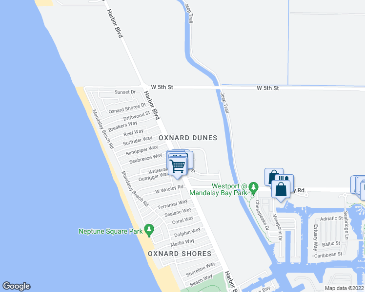 map of restaurants, bars, coffee shops, grocery stores, and more near 864 Dunes Street in Oxnard