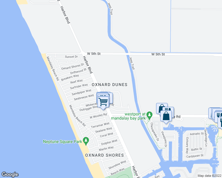 map of restaurants, bars, coffee shops, grocery stores, and more near 4951 Catamaran Street in Oxnard