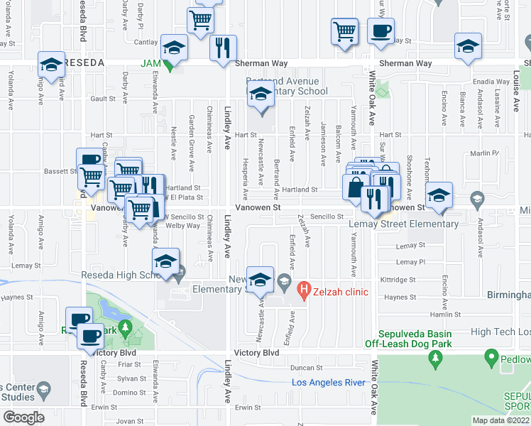 map of restaurants, bars, coffee shops, grocery stores, and more near 18000 Vanowen Street in Los Angeles