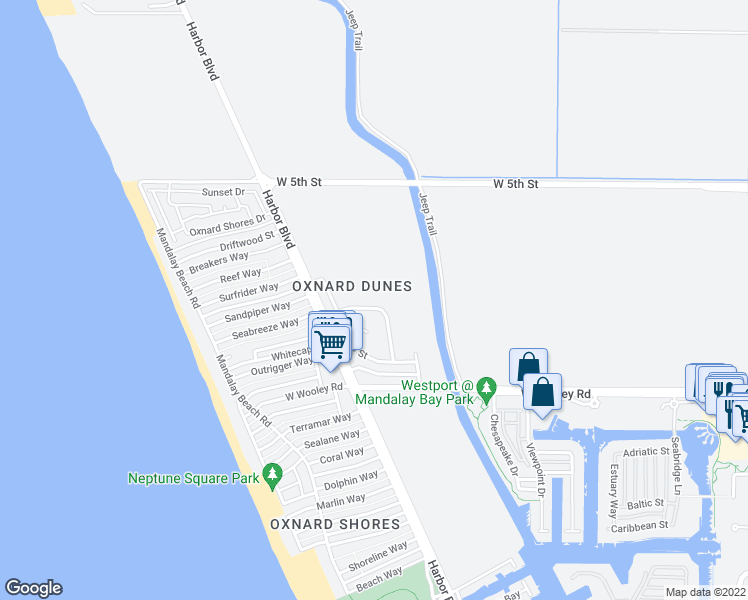 map of restaurants, bars, coffee shops, grocery stores, and more near 4915 Catamaran Street in Oxnard