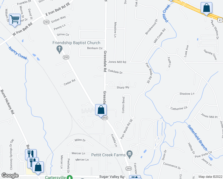 map of restaurants, bars, coffee shops, grocery stores, and more near 16 Sharp Way in Cartersville