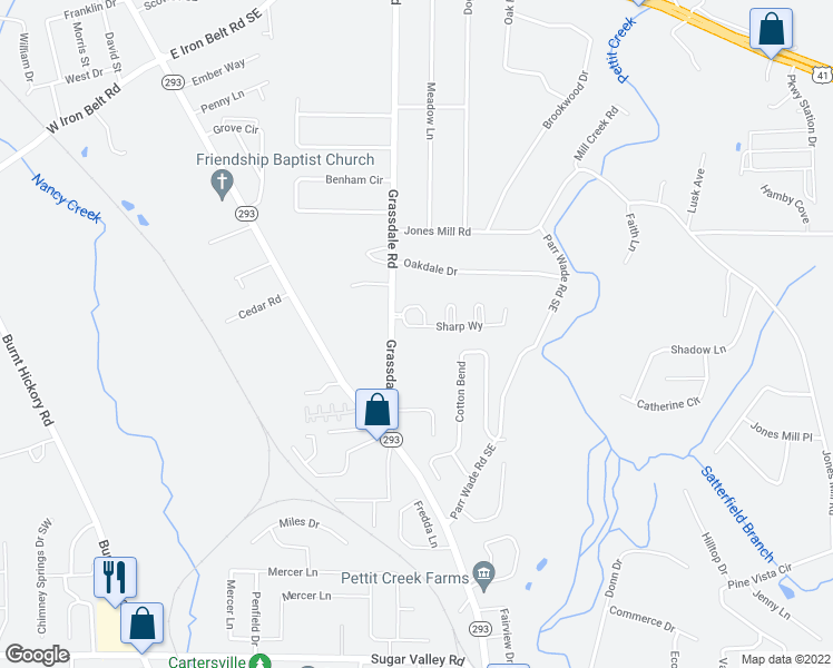 map of restaurants, bars, coffee shops, grocery stores, and more near 12 Sharp Way in Cartersville