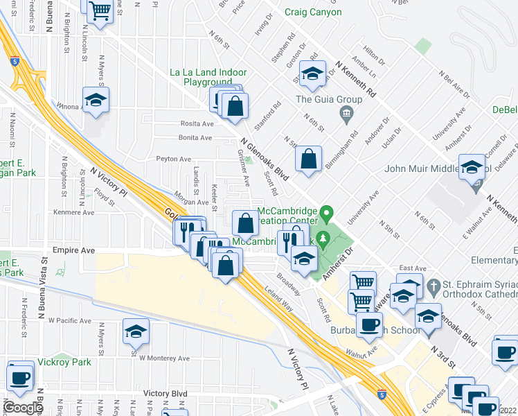 map of restaurants, bars, coffee shops, grocery stores, and more near 1710 Grismer Avenue in Burbank