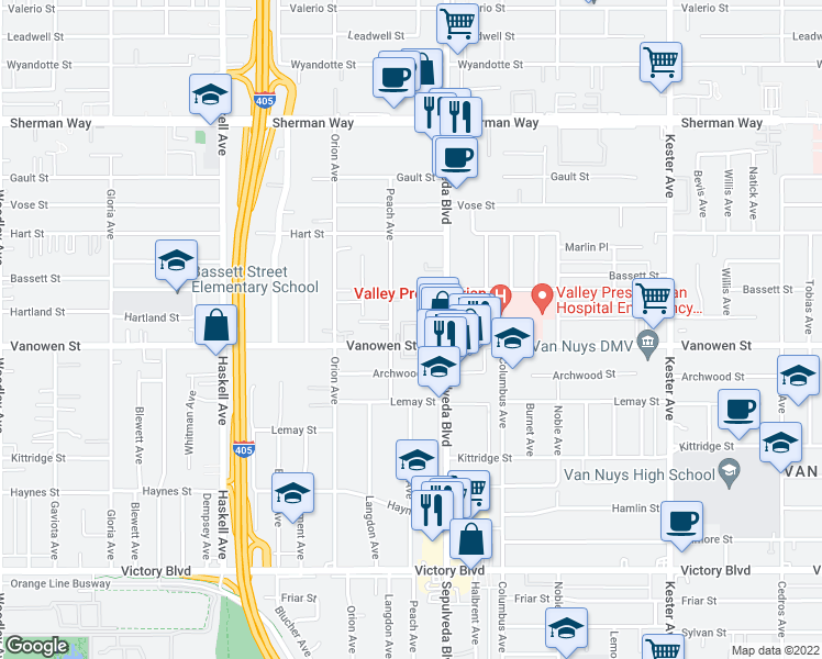 map of restaurants, bars, coffee shops, grocery stores, and more near 15335-15343 Vanowen Street in Los Angeles