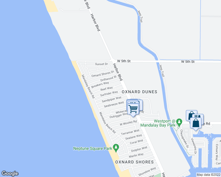 map of restaurants, bars, coffee shops, grocery stores, and more near 5306 Reef Way in Oxnard