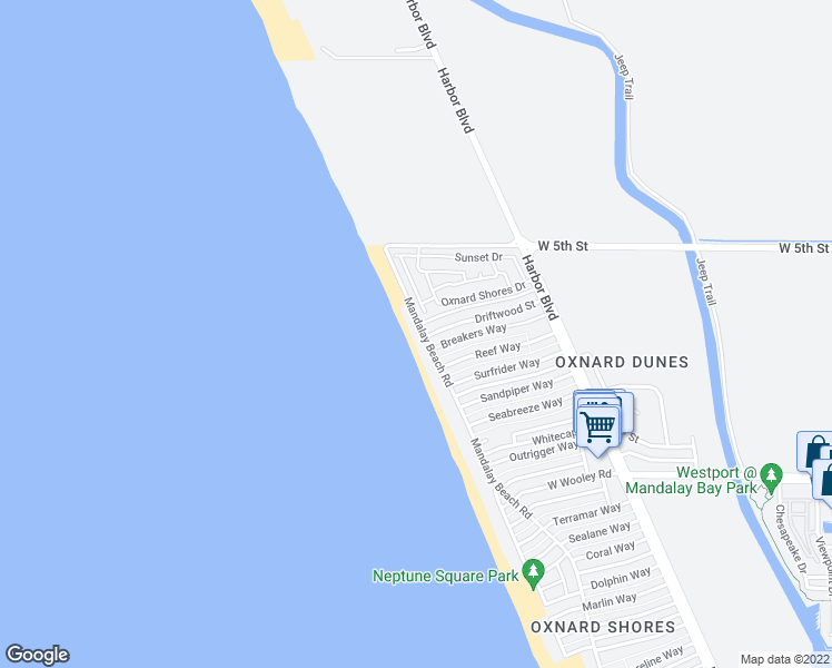 map of restaurants, bars, coffee shops, grocery stores, and more near 721 Mandalay Beach Road in Oxnard