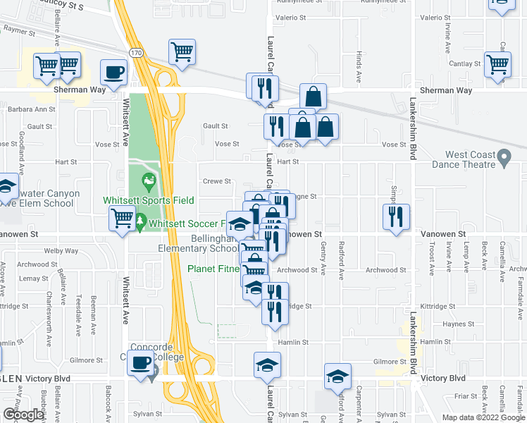 map of restaurants, bars, coffee shops, grocery stores, and more near 6835 Laurel Canyon Blvd in North Hollywood