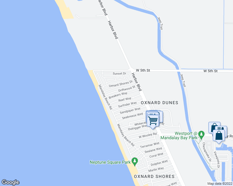 map of restaurants, bars, coffee shops, grocery stores, and more near 5420 Driftwood Street in Oxnard