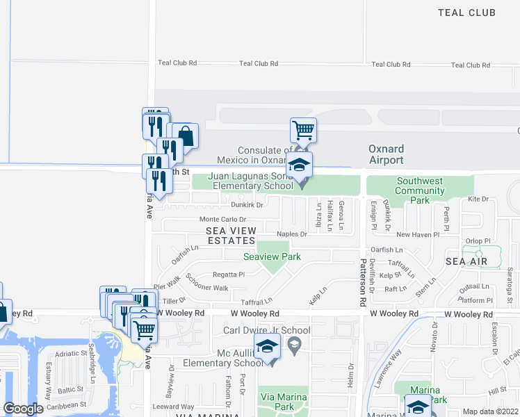 map of restaurants, bars, coffee shops, grocery stores, and more near 3334 Dunkirk Drive in Oxnard
