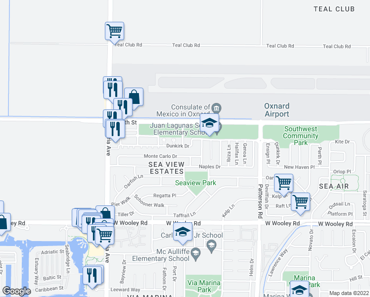 map of restaurants, bars, coffee shops, grocery stores, and more near 3344 Dunkirk Drive in Oxnard