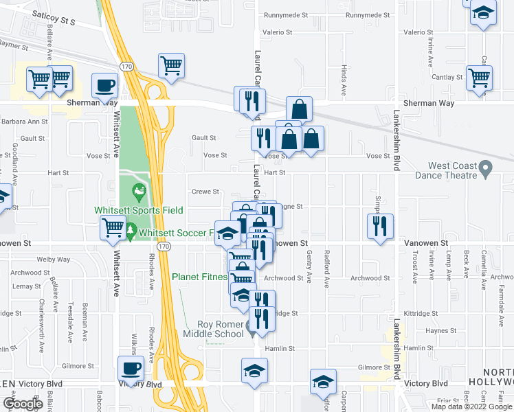 map of restaurants, bars, coffee shops, grocery stores, and more near Laurel Canyon Boulevard in Los Angeles