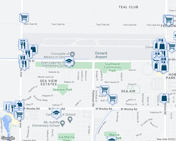 map of restaurants, bars, coffee shops, grocery stores, and more near 2904 Dunkirk Drive in Oxnard