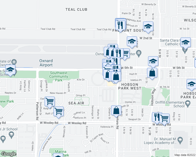 map of restaurants, bars, coffee shops, grocery stores, and more near Mira Loma Circle in Oxnard