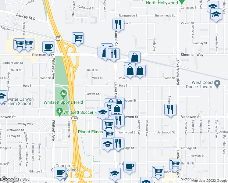 map of restaurants, bars, coffee shops, grocery stores, and more near 6949 Laurel Canyon Blvd in North Hollywood