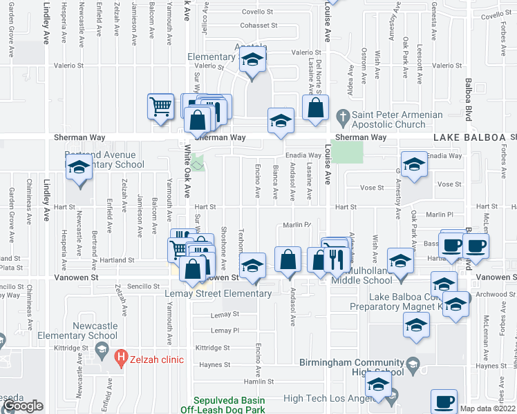 map of restaurants, bars, coffee shops, grocery stores, and more near Encino Avenue in Los Angeles