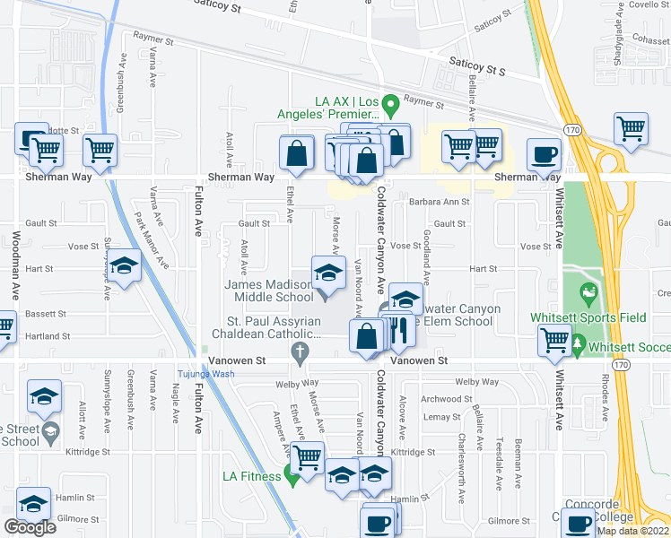 map of restaurants, bars, coffee shops, grocery stores, and more near 13000 Hart Street in Los Angeles