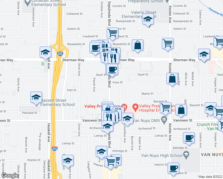 map of restaurants, bars, coffee shops, grocery stores, and more near 7010 Sepulveda Blvd in Van Nuys