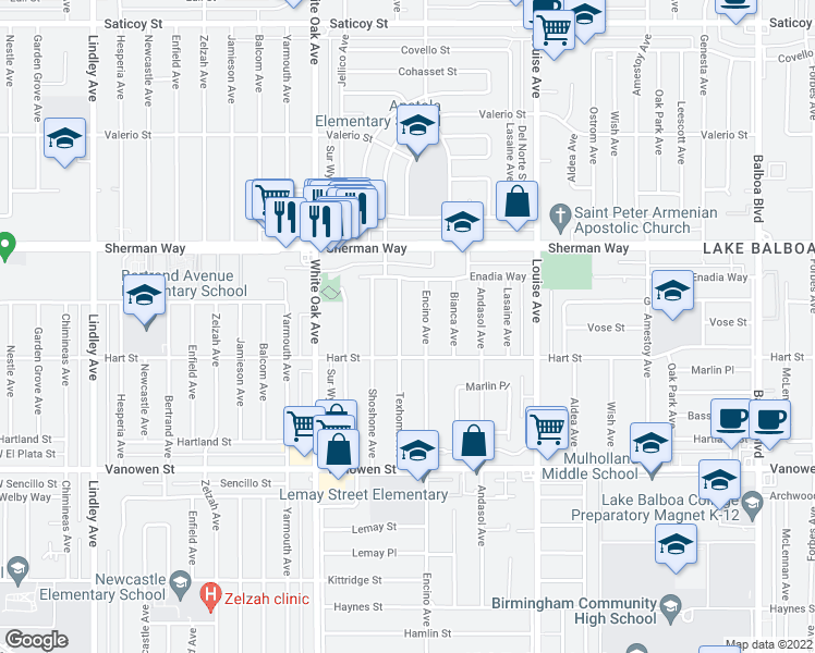 map of restaurants, bars, coffee shops, grocery stores, and more near 7032 Texhoma Avenue in Los Angeles