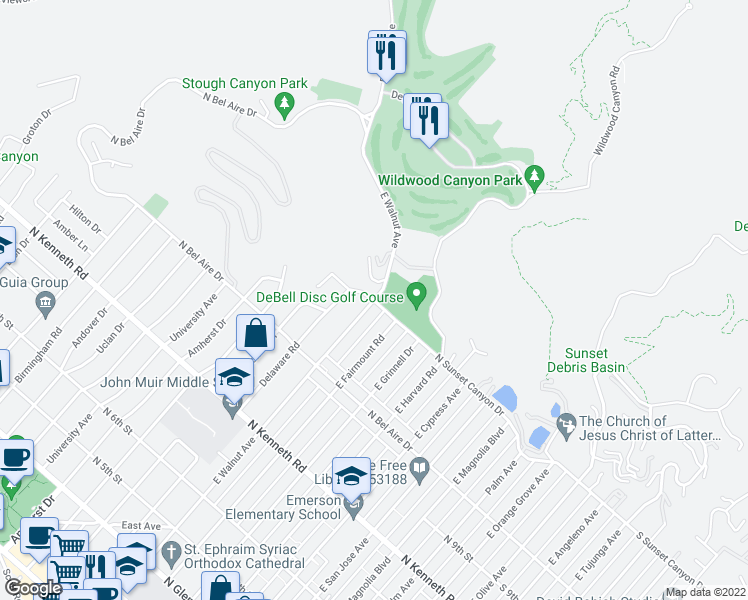 map of restaurants, bars, coffee shops, grocery stores, and more near E Walnut Ave & N Sunset Canyon Dr in B