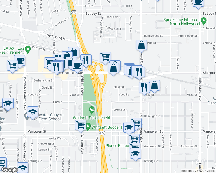 map of restaurants, bars, coffee shops, grocery stores, and more near 12300 Sherman Way in Los Angeles