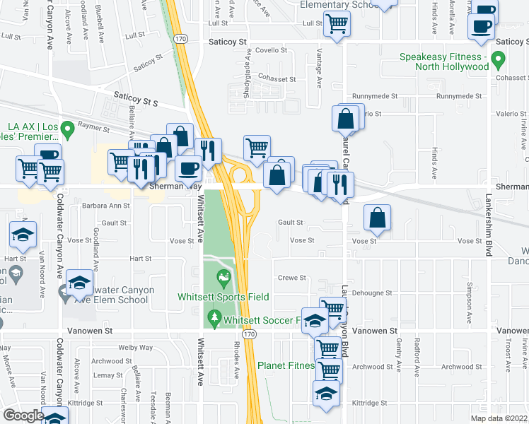 map of restaurants, bars, coffee shops, grocery stores, and more near Sherman Way in N. Hollywood