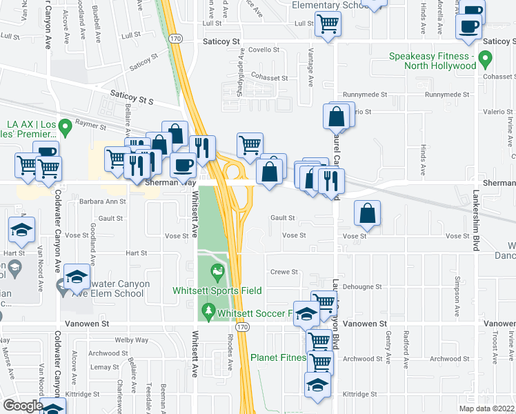 map of restaurants, bars, coffee shops, grocery stores, and more near 12300 Sherman Way in North Hollywood