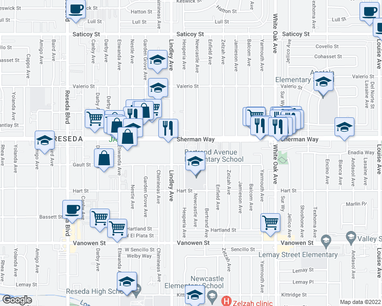 map of restaurants, bars, coffee shops, grocery stores, and more near 18014 Sherman Way in Reseda