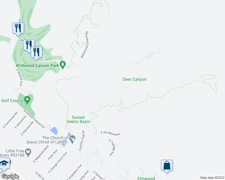 map of restaurants, bars, coffee shops, grocery stores, and more near 906 Country Club Drive in Burbank
