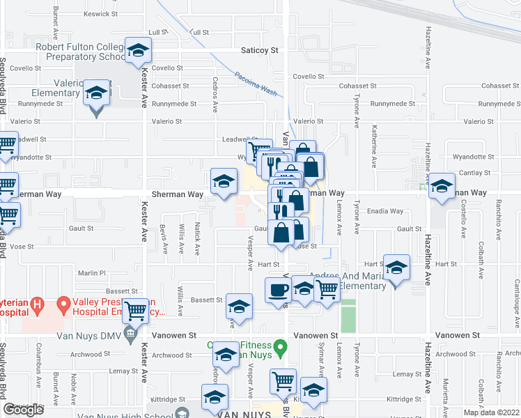 map of restaurants, bars, coffee shops, grocery stores, and more near 14500 Sherman Circle in Los Angeles