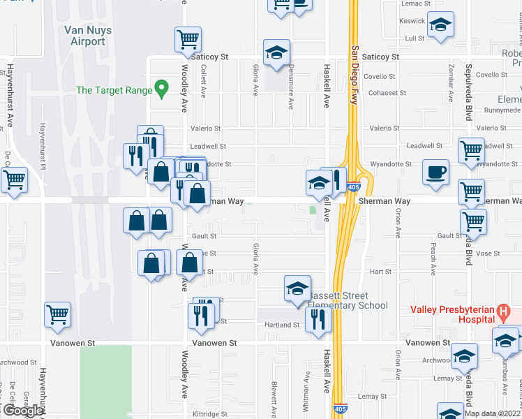 map of restaurants, bars, coffee shops, grocery stores, and more near 15730-15800 Enadia Way in Los Angeles