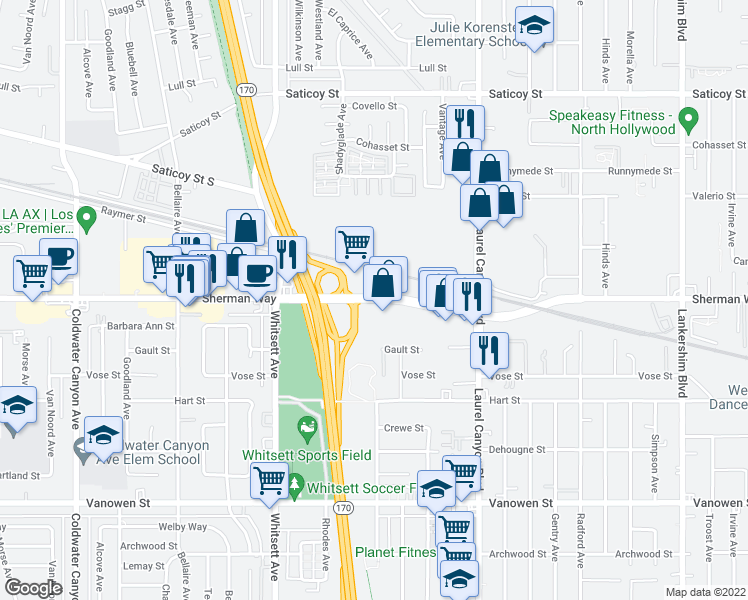 map of restaurants, bars, coffee shops, grocery stores, and more near 12307-12311 Sherman Way in Los Angeles