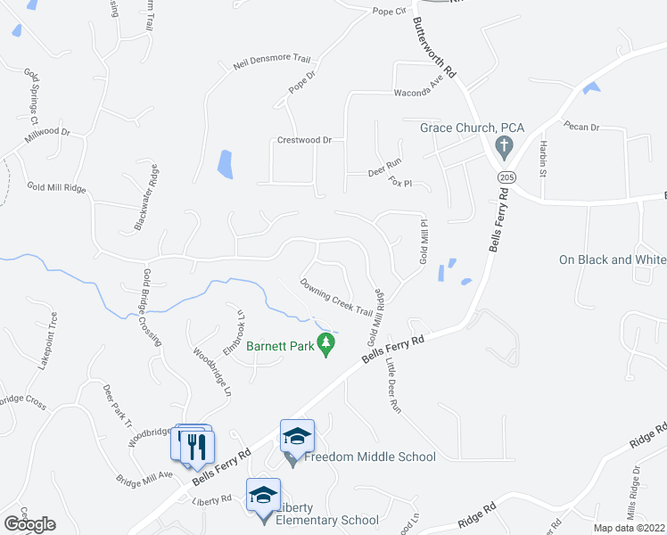 map of restaurants, bars, coffee shops, grocery stores, and more near 422 Arrowhead Trail in Canton