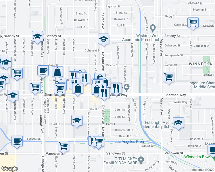 map of restaurants, bars, coffee shops, grocery stores, and more near 7213-7217 De Soto Avenue in Los Angeles
