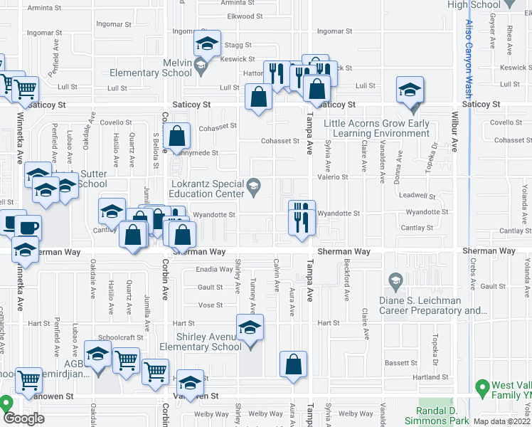 map of restaurants, bars, coffee shops, grocery stores, and more near 7301 Bonnie Place in Los Angeles