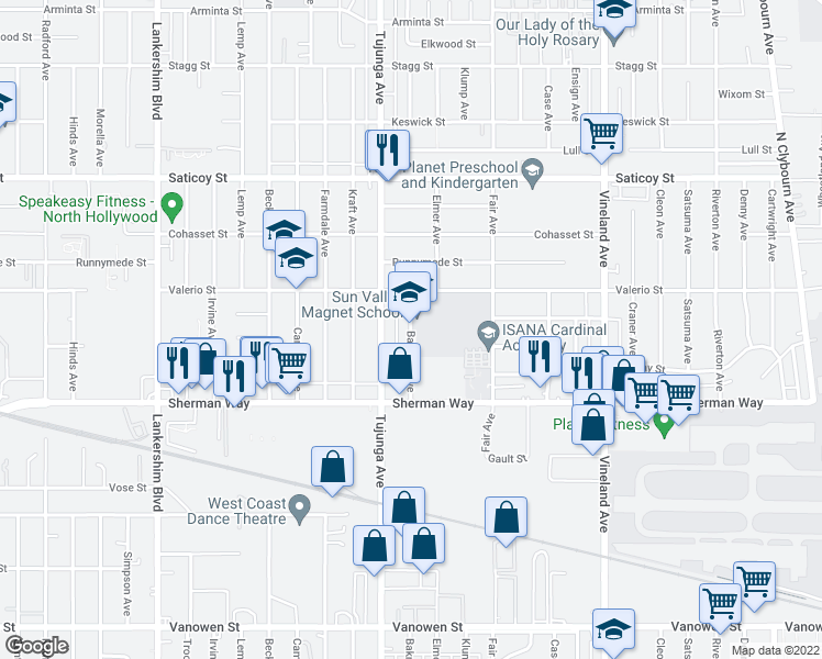 map of restaurants, bars, coffee shops, grocery stores, and more near 7302 Wyandotte Street in Los Angeles