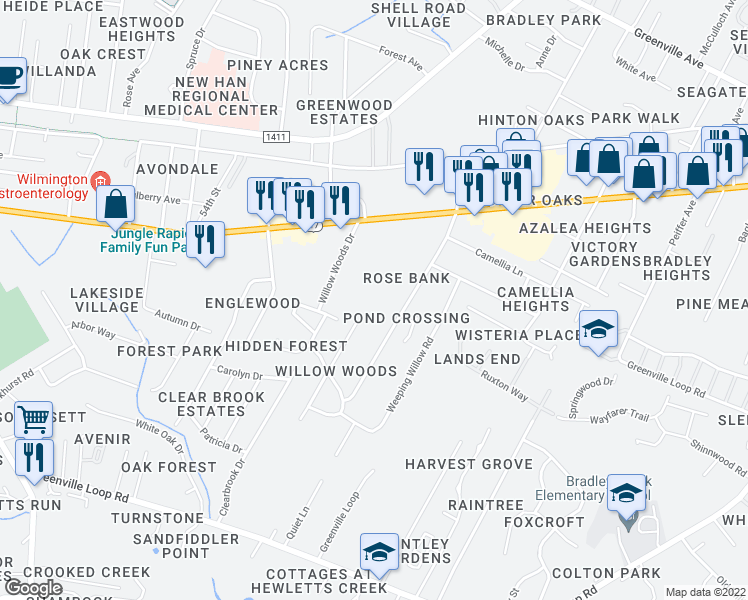 map of restaurants, bars, coffee shops, grocery stores, and more near 504 Dogwood Ln in Wilmington