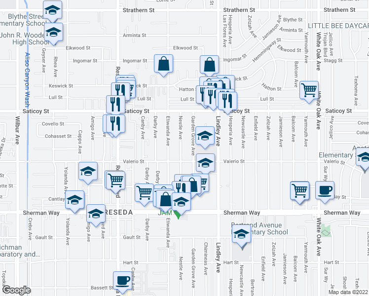 map of restaurants, bars, coffee shops, grocery stores, and more near 7434 Nestle Avenue in Los Angeles
