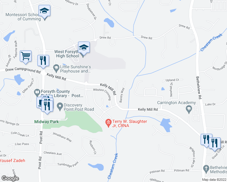 map of restaurants, bars, coffee shops, grocery stores, and more near 4813 Kelly Mill Road in Cumming