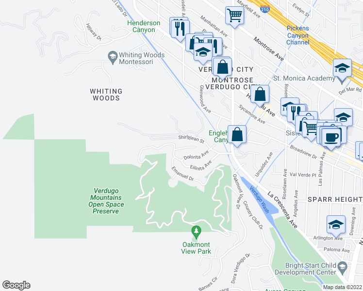 map of restaurants, bars, coffee shops, grocery stores, and more near 1011 Camann Street in Glendale
