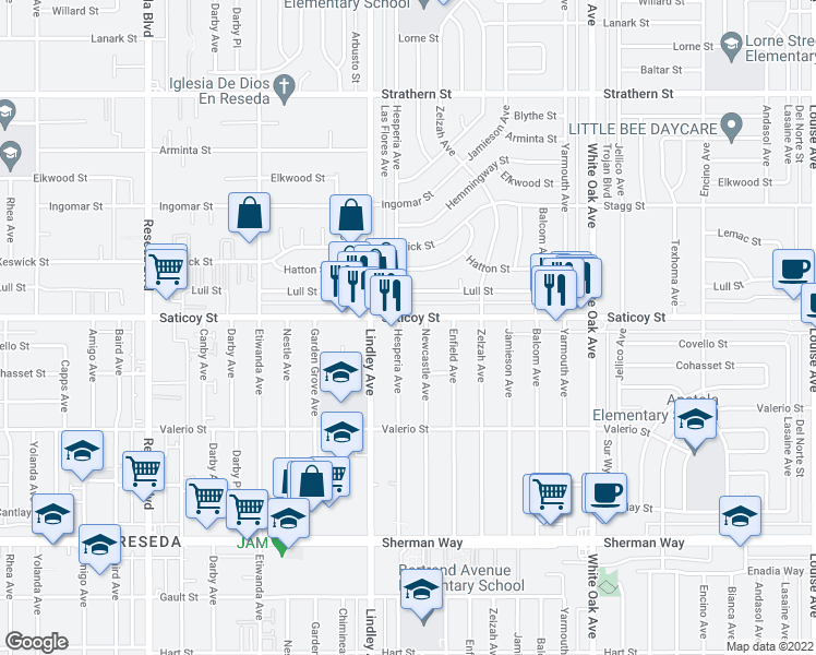 map of restaurants, bars, coffee shops, grocery stores, and more near 7531 Newcastle Avenue in Los Angeles