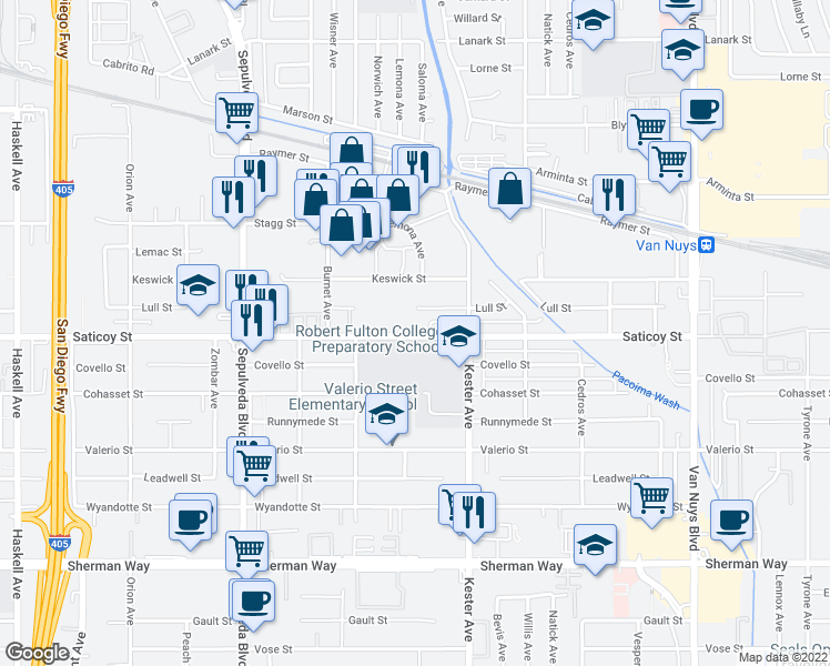 map of restaurants, bars, coffee shops, grocery stores, and more near 14955 Saticoy Street in Van Nuys