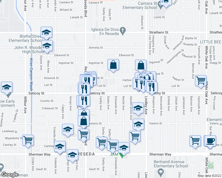 map of restaurants, bars, coffee shops, grocery stores, and more near 18400-18410 Lull Street in Los Angeles