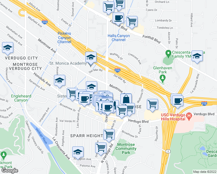 map of restaurants, bars, coffee shops, grocery stores, and more near 2256 Montrose Avenue in La Crescenta-Montrose