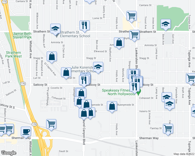 map of restaurants, bars, coffee shops, grocery stores, and more near 12019 Saticoy Street in Los Angeles
