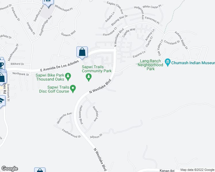 map of restaurants, bars, coffee shops, grocery stores, and more near North Westlake Boulevard in Thousand Oaks
