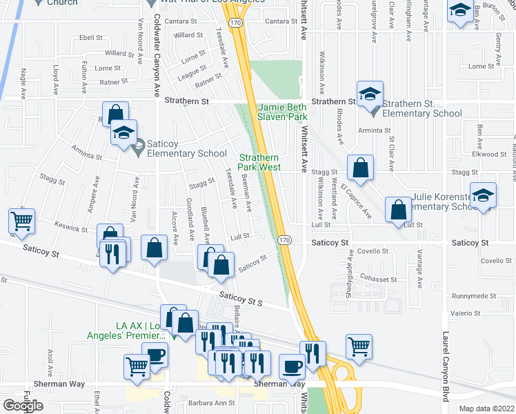 map of restaurants, bars, coffee shops, grocery stores, and more near 12616 Solvang St in North Hollywood