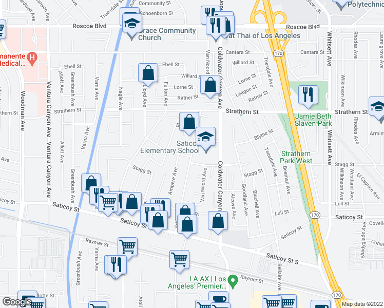 map of restaurants, bars, coffee shops, grocery stores, and more near 7862 Mary Ellen Avenue in Los Angeles
