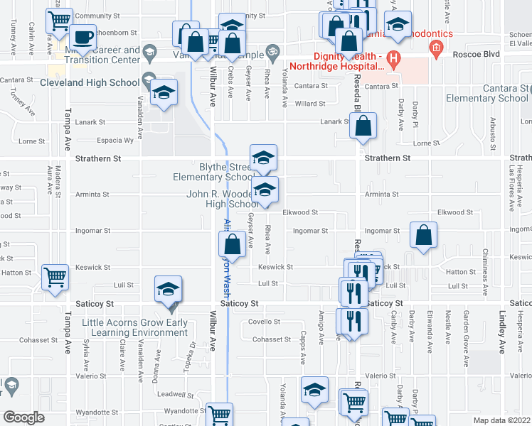 map of restaurants, bars, coffee shops, grocery stores, and more near 7830-7898 Geyser Avenue in Los Angeles