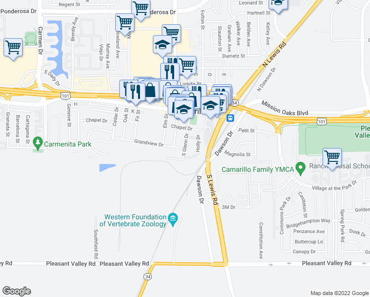 map of restaurants, bars, coffee shops, grocery stores, and more near 2380 Grandview Drive in Camarillo